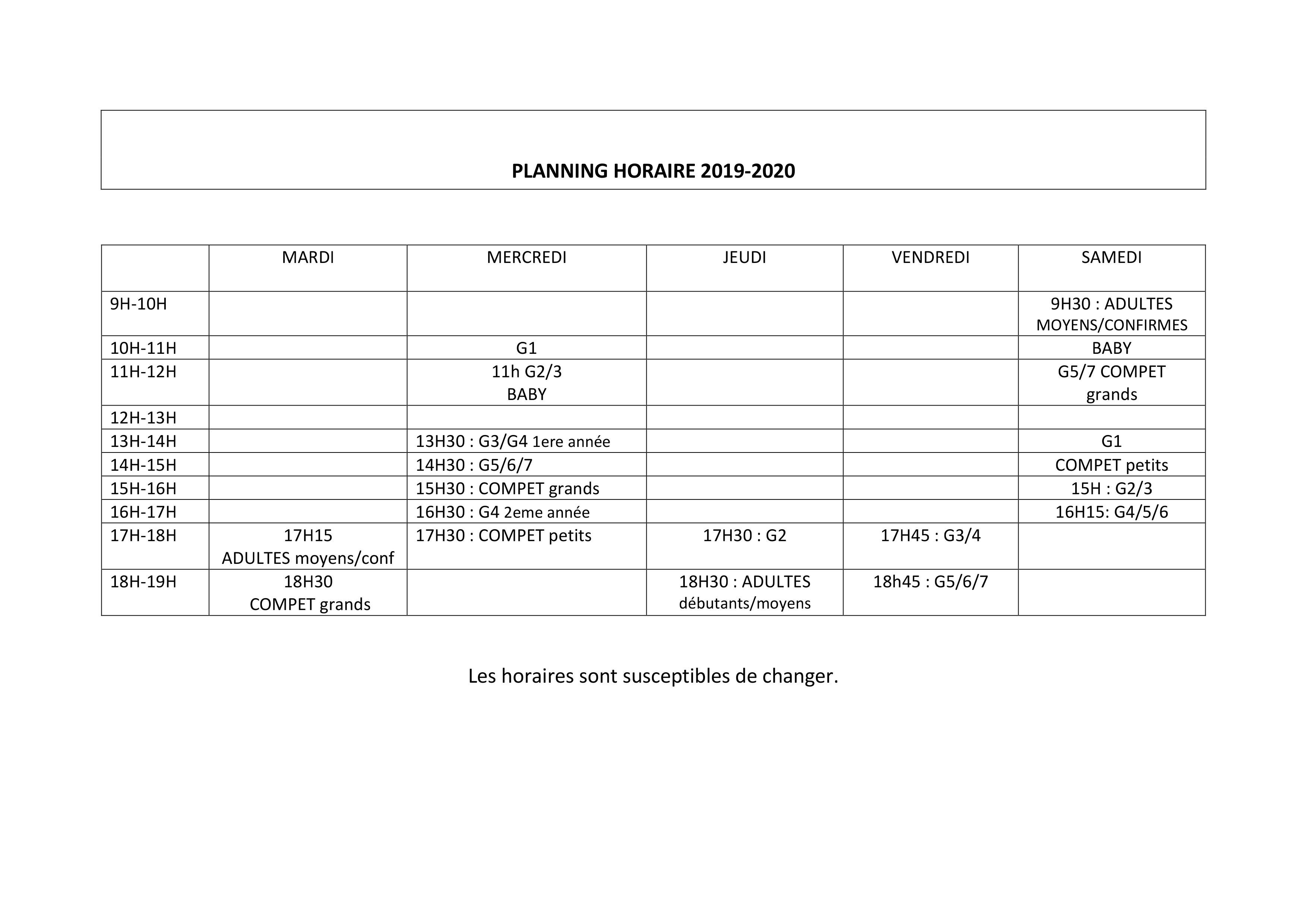PLANNING HORAIRE